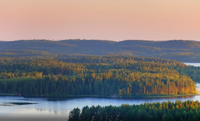 Suomalainen järvi ja metsämaisema kauniin ilta-auringon aikaan